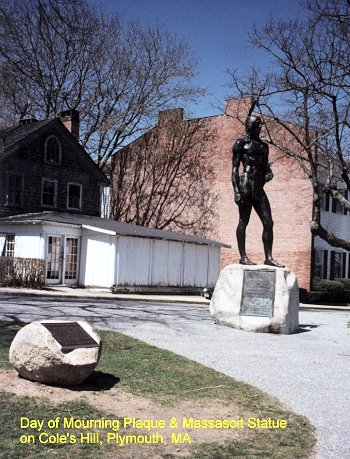 Plaque and Statue United American Indians of New England supports OB, encourages Day of Mourning