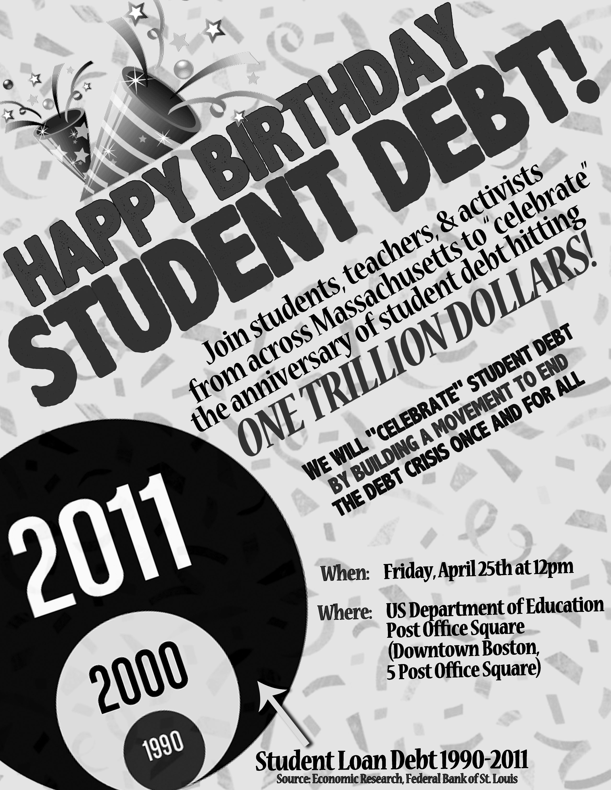 Happy Bday Student Debt bw