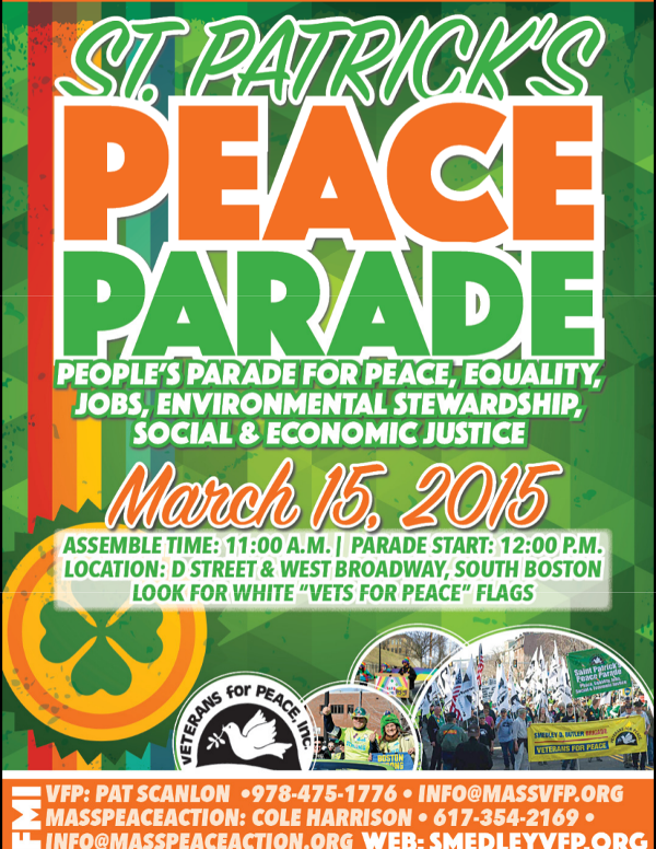 St Patrick's Day Peace Parade flyer