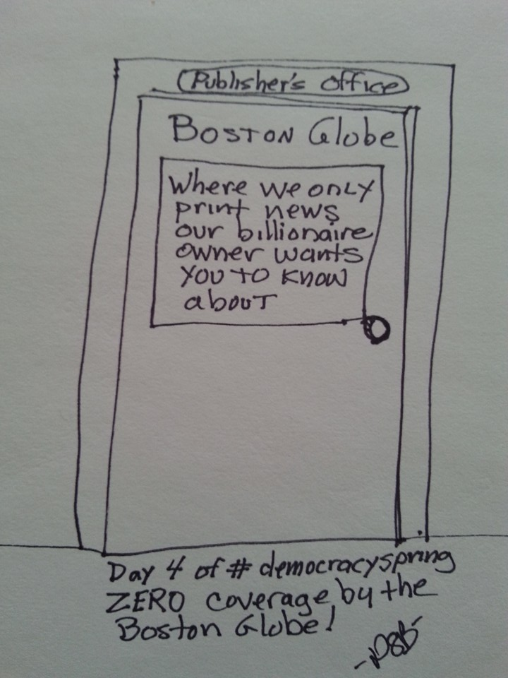 Political Cartoon about the Globe's blackout of Democracy Spring reporting