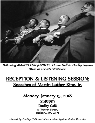 Reception and Listening Session.  Speeches of Martin Luther King, Jr.  Jan 15th 2:30pm Dudley Cafe