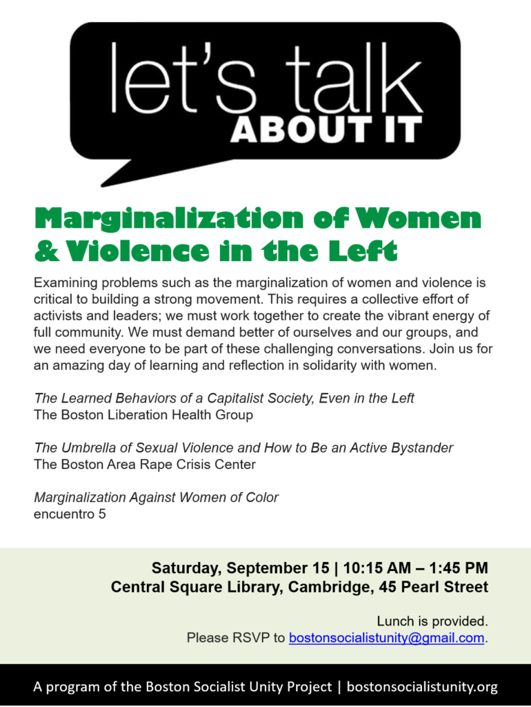 Flyer: Marginalization of Women and Violence on the left